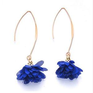 Blue Flower Gold Metal Wire Threader Earrings
